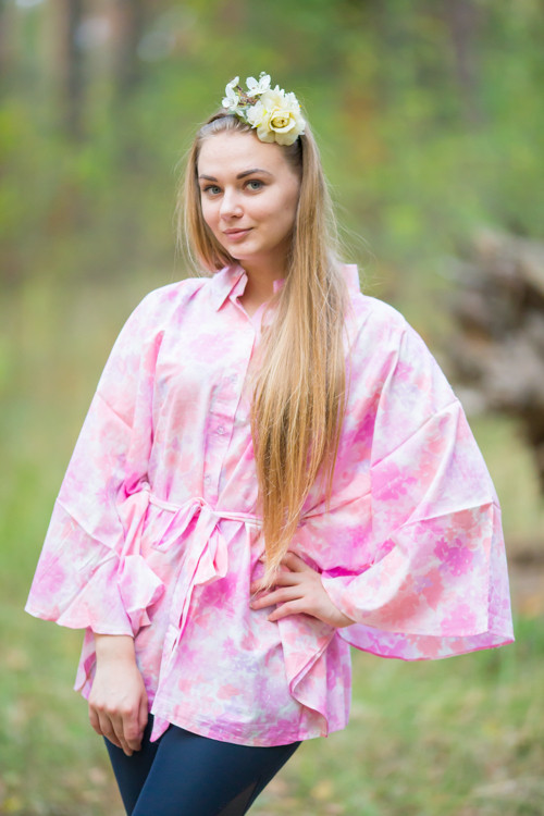 """Oriental Delight"" kaftan Top in Ombre Fading Leaves pattern"