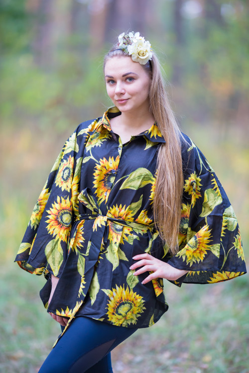 """Oriental Delight"" kaftan Top in Sunflower Sweet pattern"
