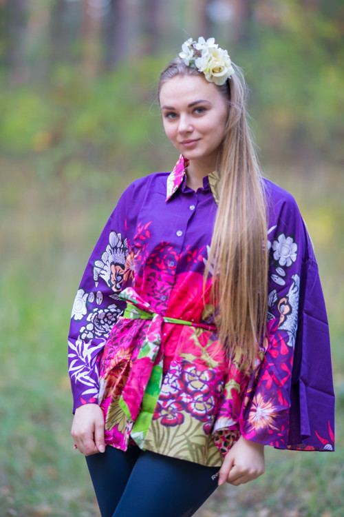 """Oriental Delight"" kaftan Top in Vibrant Foliage  pattern"