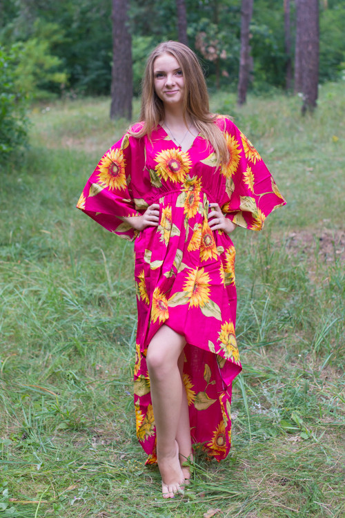"""High Low Wind Flow"" kaftan in Sunflower Sweet pattern"