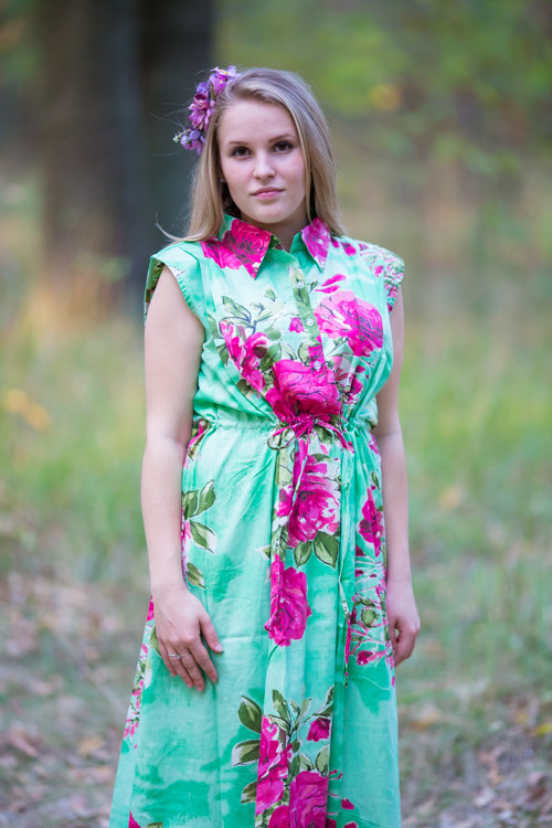 """Cool Summer"" kaftan in Large Fuchsia Floral Blossom pattern"