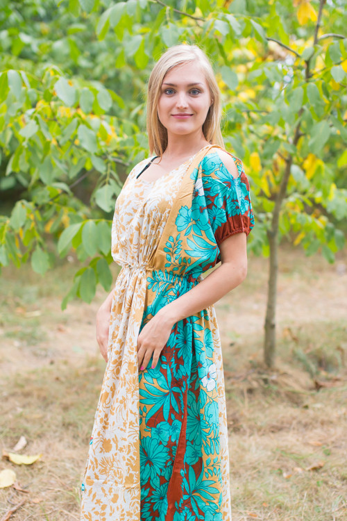 """Cut-out Cute"" kaftan in Falling Leaves pattern"
