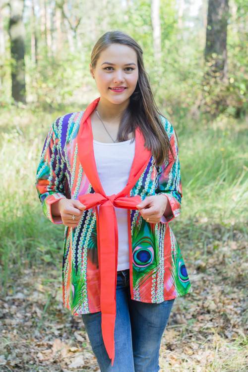 """Bow and Me"" Kimono jacket in Peacock Plumage pattern"