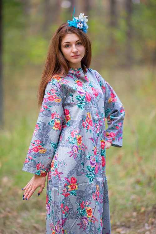 """Charming Collars"" kaftan in Cute Bows pattern"