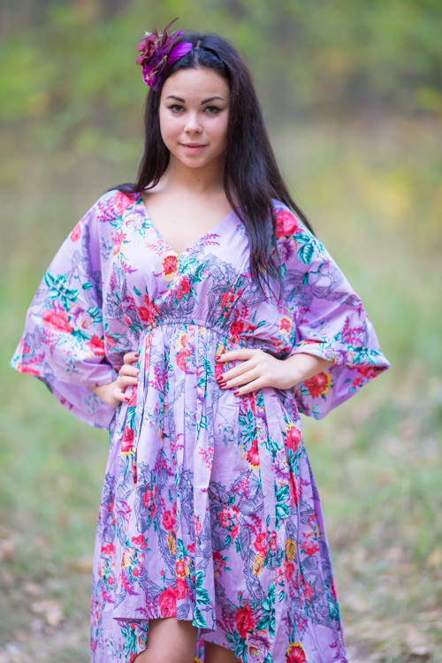 """High Low Wind Flow"" kaftan in Cute Bows pattern"
