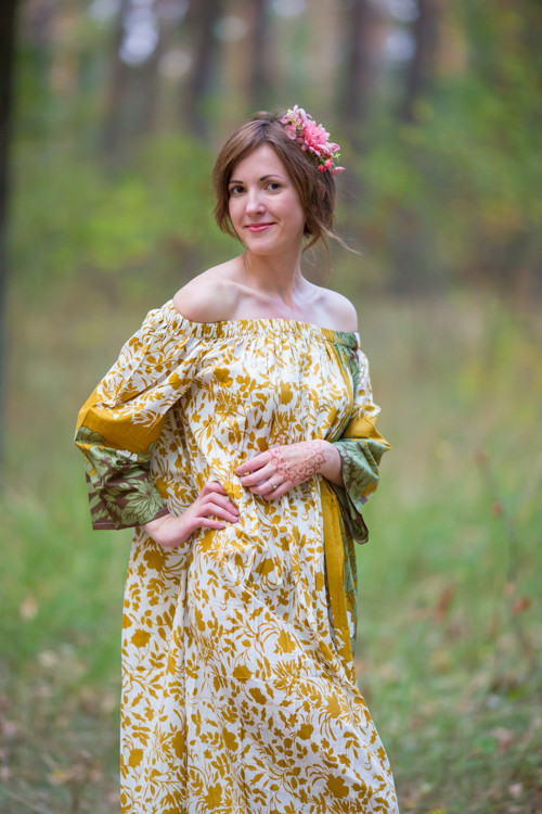 """Serene Strapless"" kaftan in Falling Leaves pattern"
