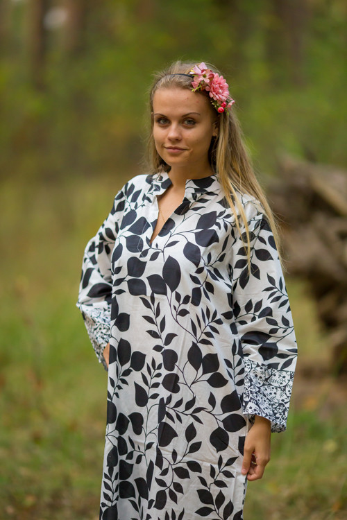 """Mandarin On My Mind"" kaftan in Classic White Black pattern"