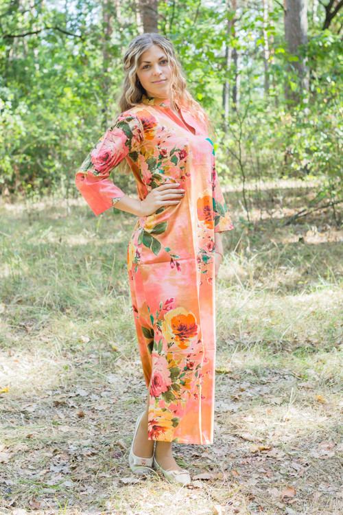 """Mandarin On My Mind"" kaftan in Large Floral Blossom pattern"
