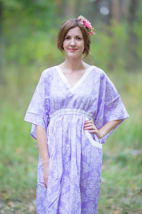 """Breezy Bohemian"" kaftan in Damask pattern"
