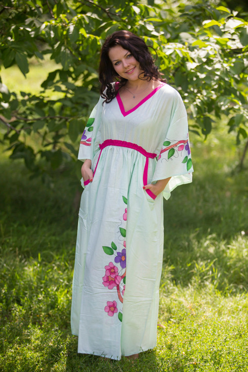 """Breezy Bohemian"" kaftan in Swirly Floral Vine pattern"