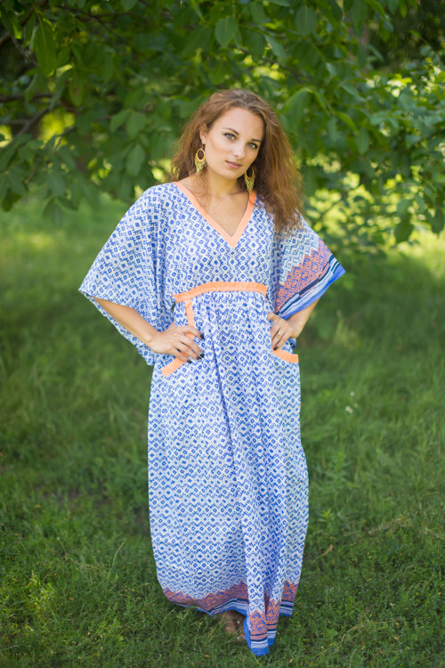 """Breezy Bohemian"" kaftan in Geometric Chevron pattern"