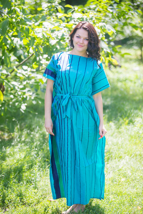 """Divinely Simple"" kaftan in Multicolored Stripes pattern"