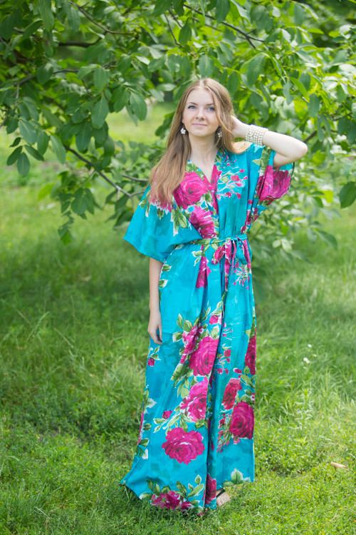 """Best of both the worlds"" kaftan in Large Fuchsia Floral Blossom pattern"