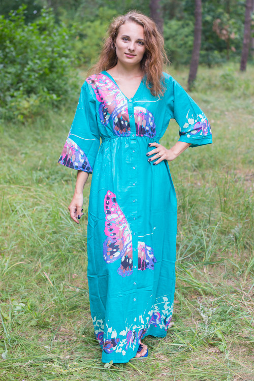 """Button me down"" kaftan in Big Butterfly pattern"