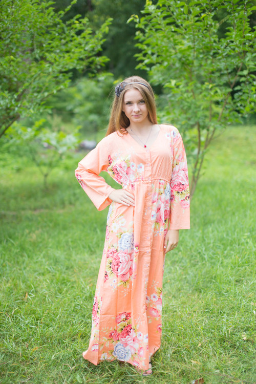 """Button me down"" kaftan in Cabbage Roses pattern"