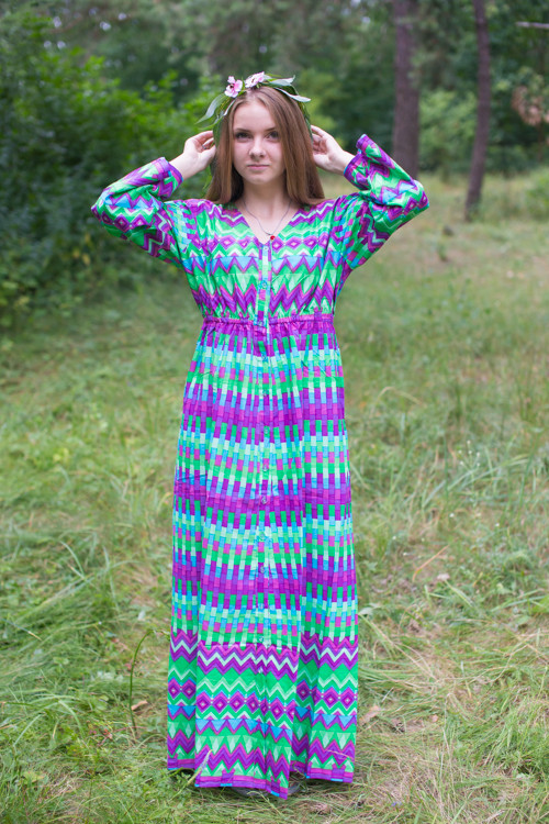 """Button me down"" kaftan in Geometrica pattern"