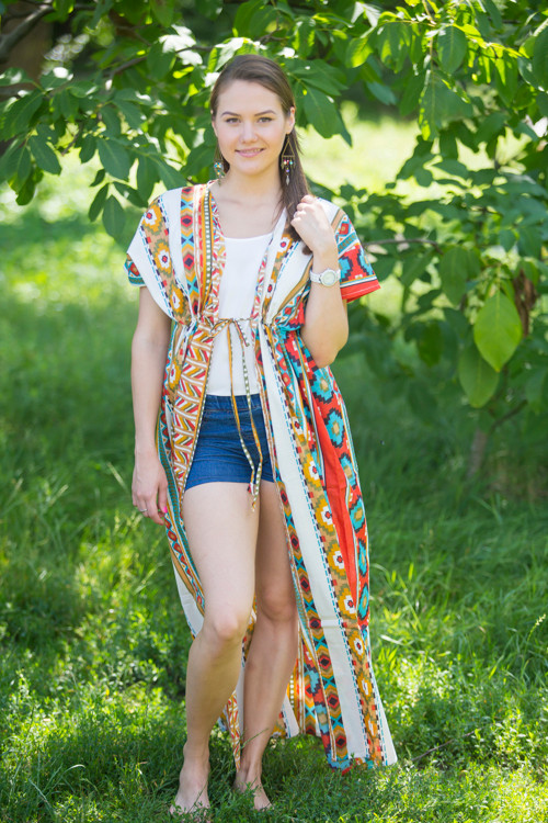 """Beach Days"" kaftan in Aztec Geometric pattern"