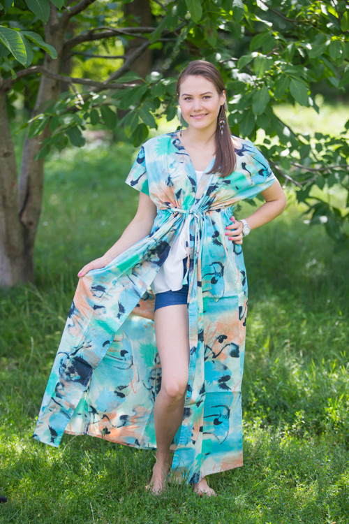 """Beach Days"" kaftan in Flamingo Watercolor pattern"