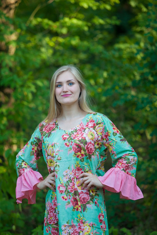 """Frill lovers"" kaftan in Rosy Red Posy pattern"