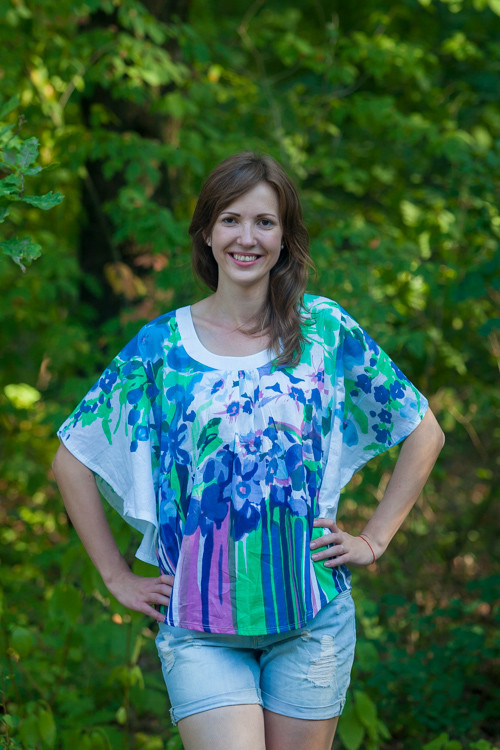 """Summer Celebration"" kaftan Top in Floral Watercolor Painting pattern"
