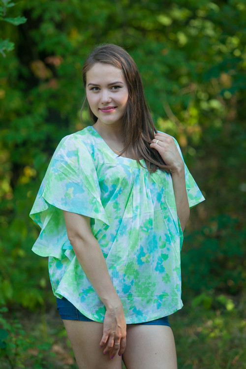 """Summer Celebration"" kaftan Top in Ombre Fading Leaves pattern"