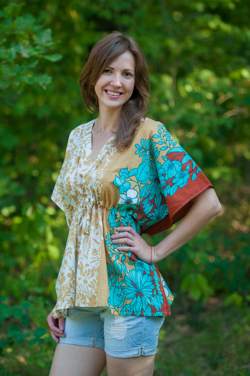 """Timeless"" kaftan Top in Falling Leaves pattern"