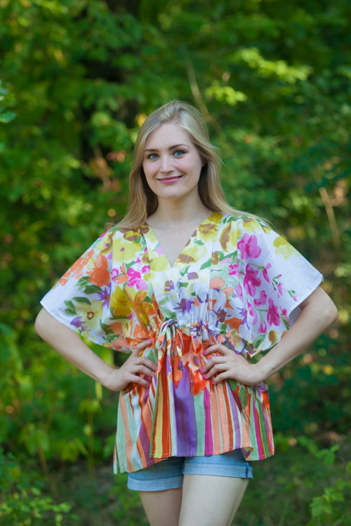 """Timeless"" kaftan Top in Floral Watercolor Painting pattern"
