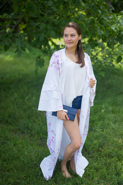 """Boho-Chic"" Kimono jacket in Cherry Blossoms pattern"