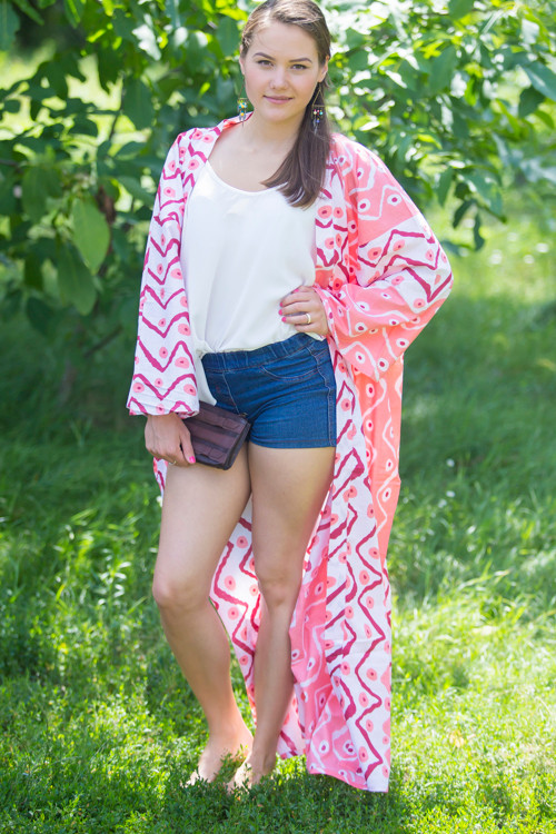 """Boho-Chic"" Kimono jacket in Chevron Dots pattern"
