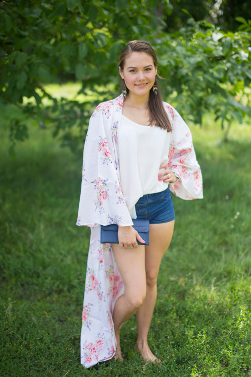 """Boho-Chic"" Kimono jacket in Faded Flowers pattern"