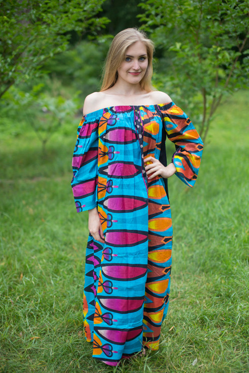 """Serene Strapless"" kaftan in Floral Glowing Flame pattern"