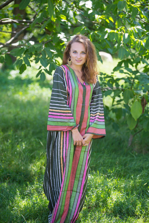 """The Glow Within"" kaftan in Multicolored Stripes pattern"