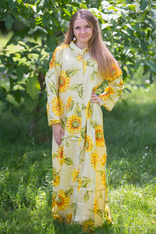 """Charming Collars"" kaftan in Sunflower Sweet pattern"
