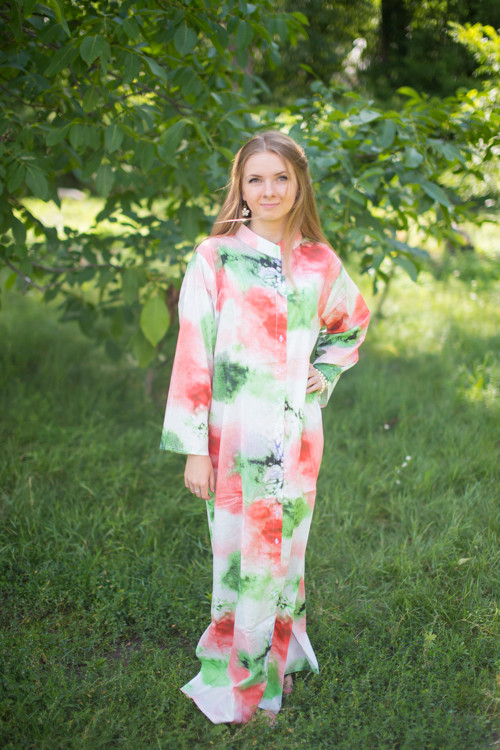 """Charming Collars"" kaftan in Watercolor Splash pattern"