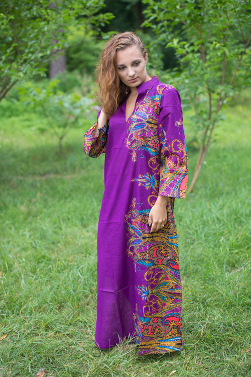"""Mandarin On My Mind"" kaftan in Cheerful Paisleys pattern"