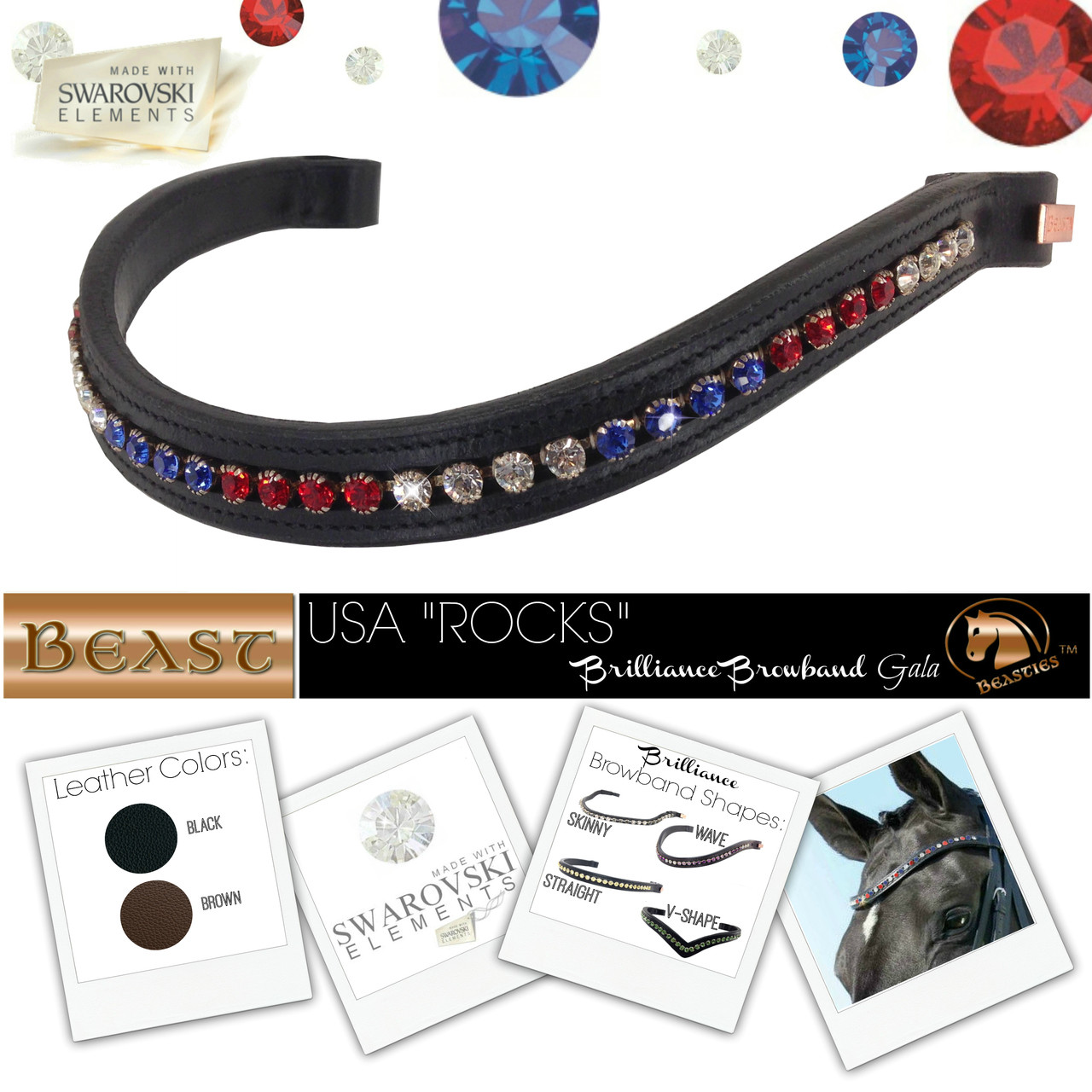 Blue and White Equestrian Browband  Bling Browband