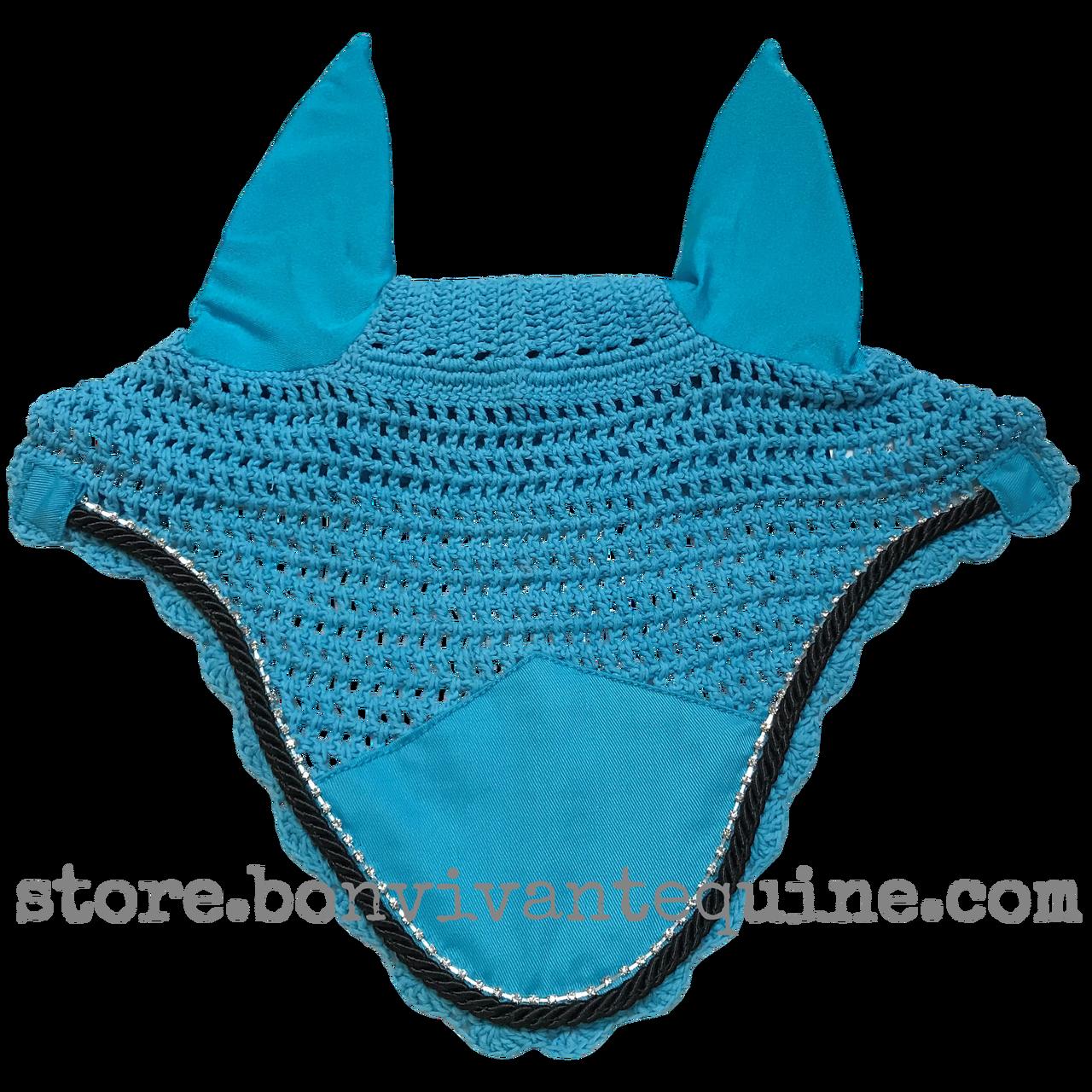 Turquoise Atlantic Blue Bling Horse Crochet Fly Bonnets Bon Vivant Unique Equestrian Supply Accessories