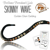 Golden Glam Gelding - Brilliance Skinny Wave Browband Gala by Beasties Horse Tack Solutions (to view more color options, select an option from the drop-down menu).