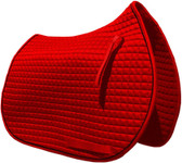 Red All-Purpose English Saddle Pad.  Shown Here with Black Piping.