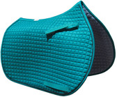 Teal All-Purpose English Saddle Pad Shown Here with Black Piping