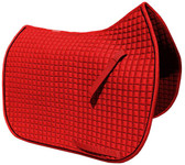 Gorgeous and Vibrant Red Dressage Saddle Pad Color (Shown here with black piping/trim).