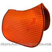 Orange Dressage Saddle Pad Shown here with #7 Black Accent Rope/Cord.