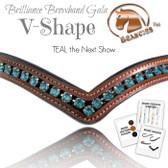 V Shaped Brilliance Browband by Beasties™  Shown here in Whiskey Leather and Crystal Color: #6 TEAL the Next Show.