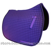 Purple Dressage Saddle Pad with Black Accent Rope/Cord