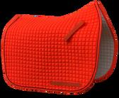 Blaze Hunter Safety Orange Dressage Saddle Pad - Shown here with optional black piping/trim