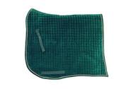 Hunter Green Velvet Swallow-Tail (aka: Swan Tail) with Metallic Gold Piping/Trim   PRI Dressage Saddle Pad with Equu-Felt