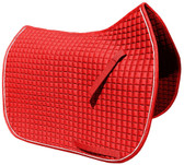 Gorgeous and Vibrant Red Dressage Saddle Pad Color (Shown here with white piping/trim).