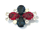 "Red, White and Blue Dressage Brooch / Stock Pin | ""Fleur"" by Beasties™"