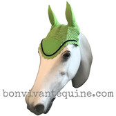 Lime Green Fly Veil / Horse Bonnet (Shown here with black trim).