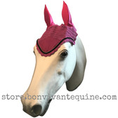 Magenta / Hot Pink Horse Bonnets.  Shown here with black cording/trim.